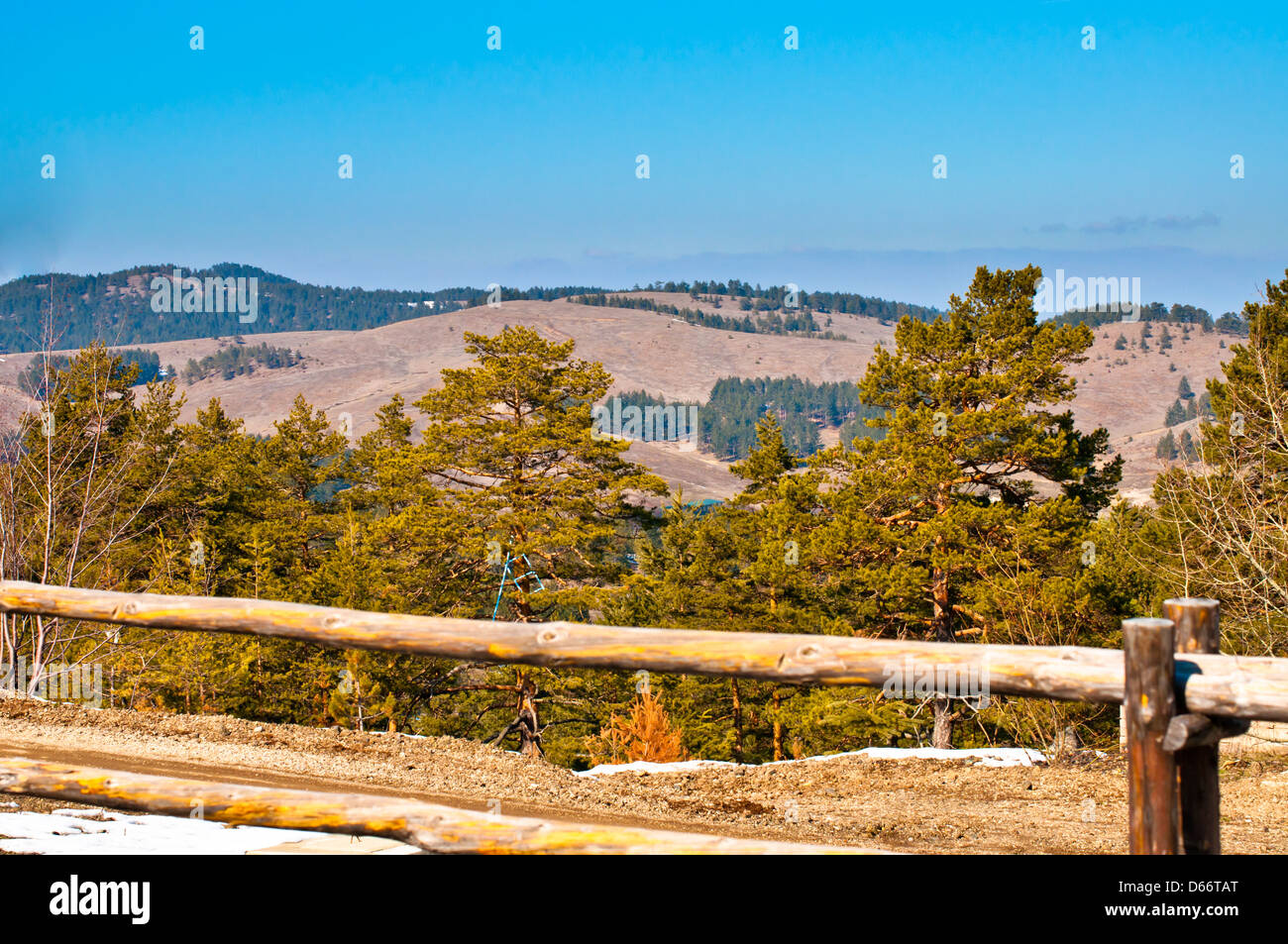 Zlatibor landscape in Tornik resort with wooden fence - Stock Image