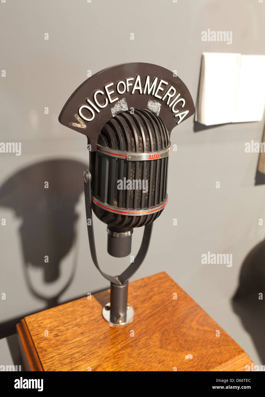 Antique Voice of America broadcast mic - Stock Image