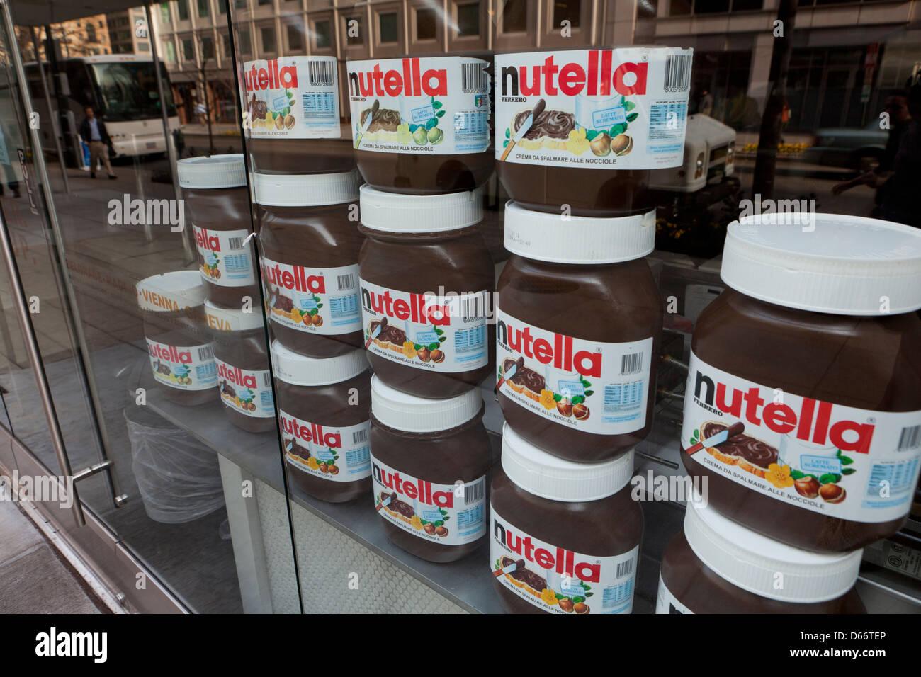 Nutella jars on display - Stock Image