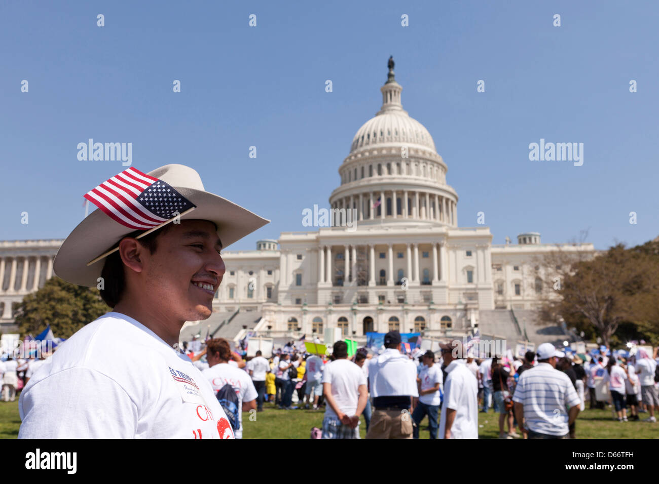 Latino man in front of the US Capitol building during the immigration reform rally - Washington, DC USA - Stock Image