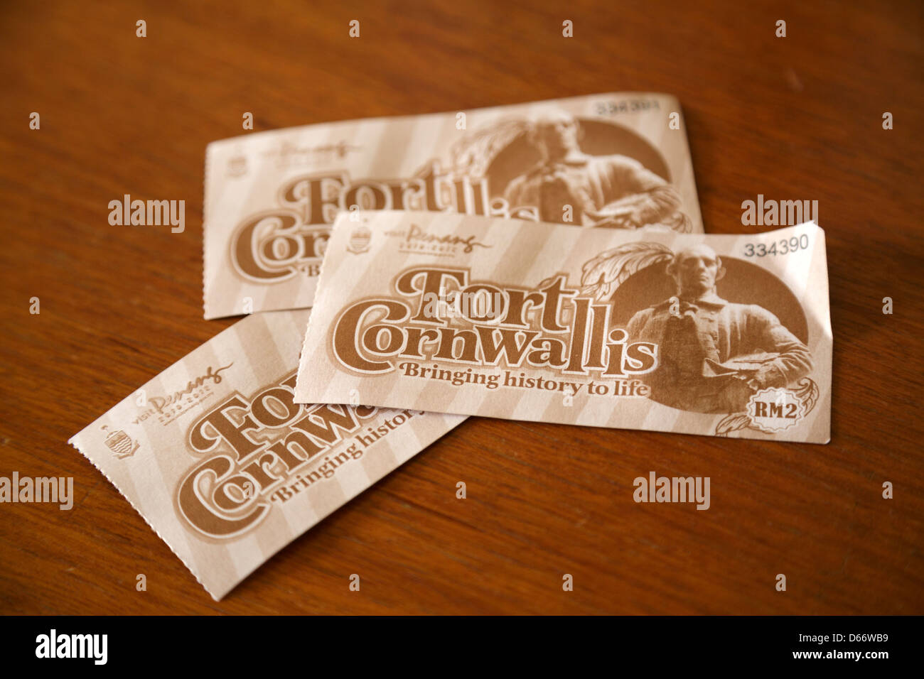 Ticket stub for entry to Fort Cornwallis, George Town, Penang, Malaysia - Stock Image