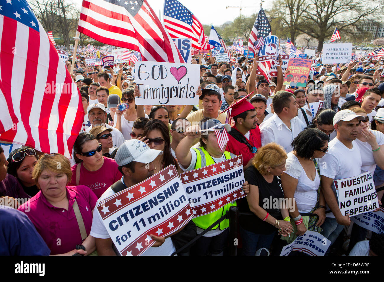 A pro immigration reform rally at the United States Capitol Building.  - Stock Image