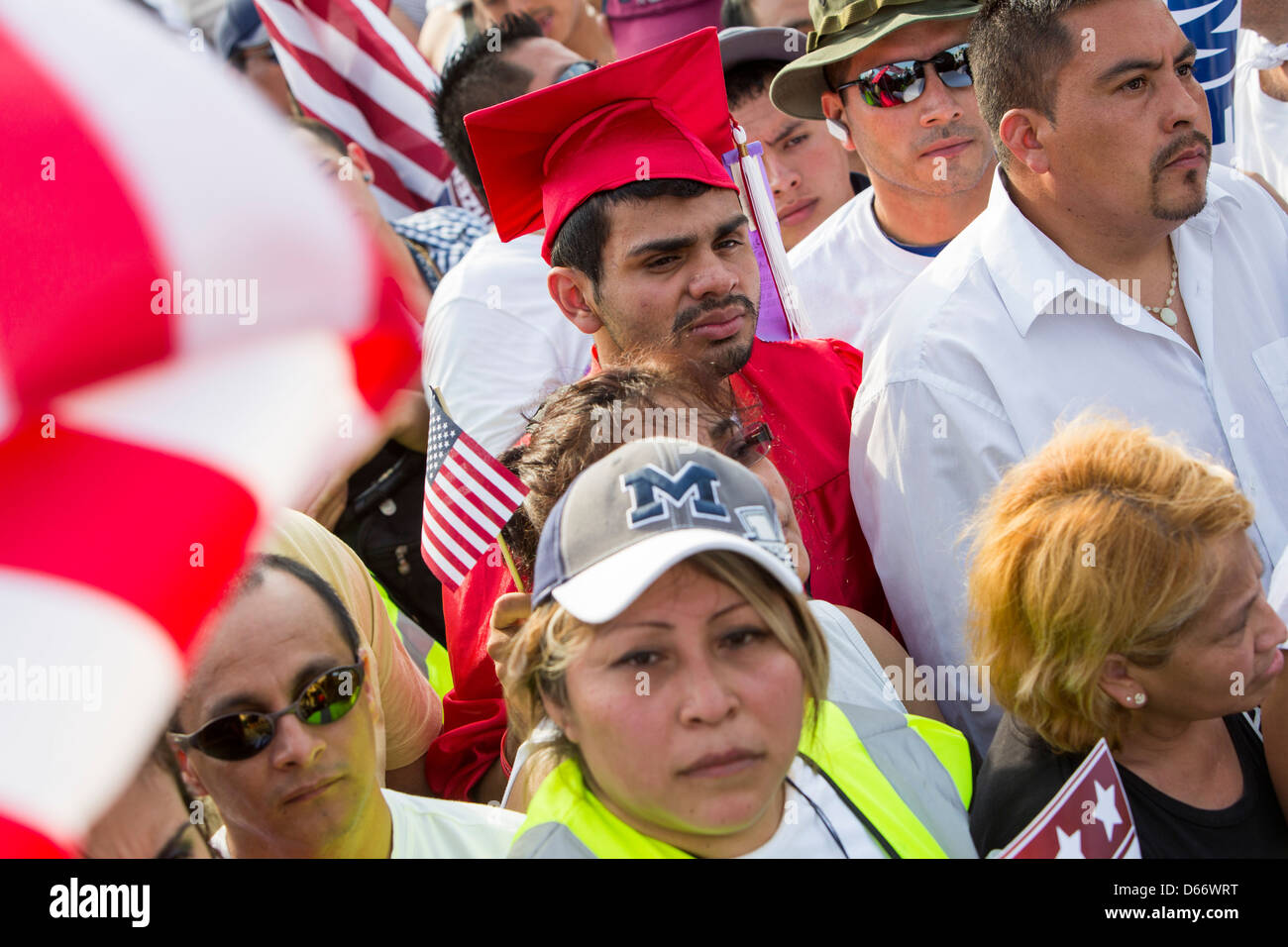 A pro immigration reform rally at the United States Capitol Building.  Stock Photo