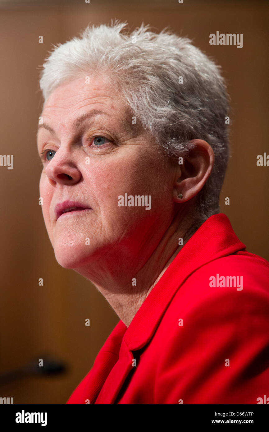 Gina McCarthy during her confirmation hearing to lead the Environmental Protection Agency (EPA). - Stock Image