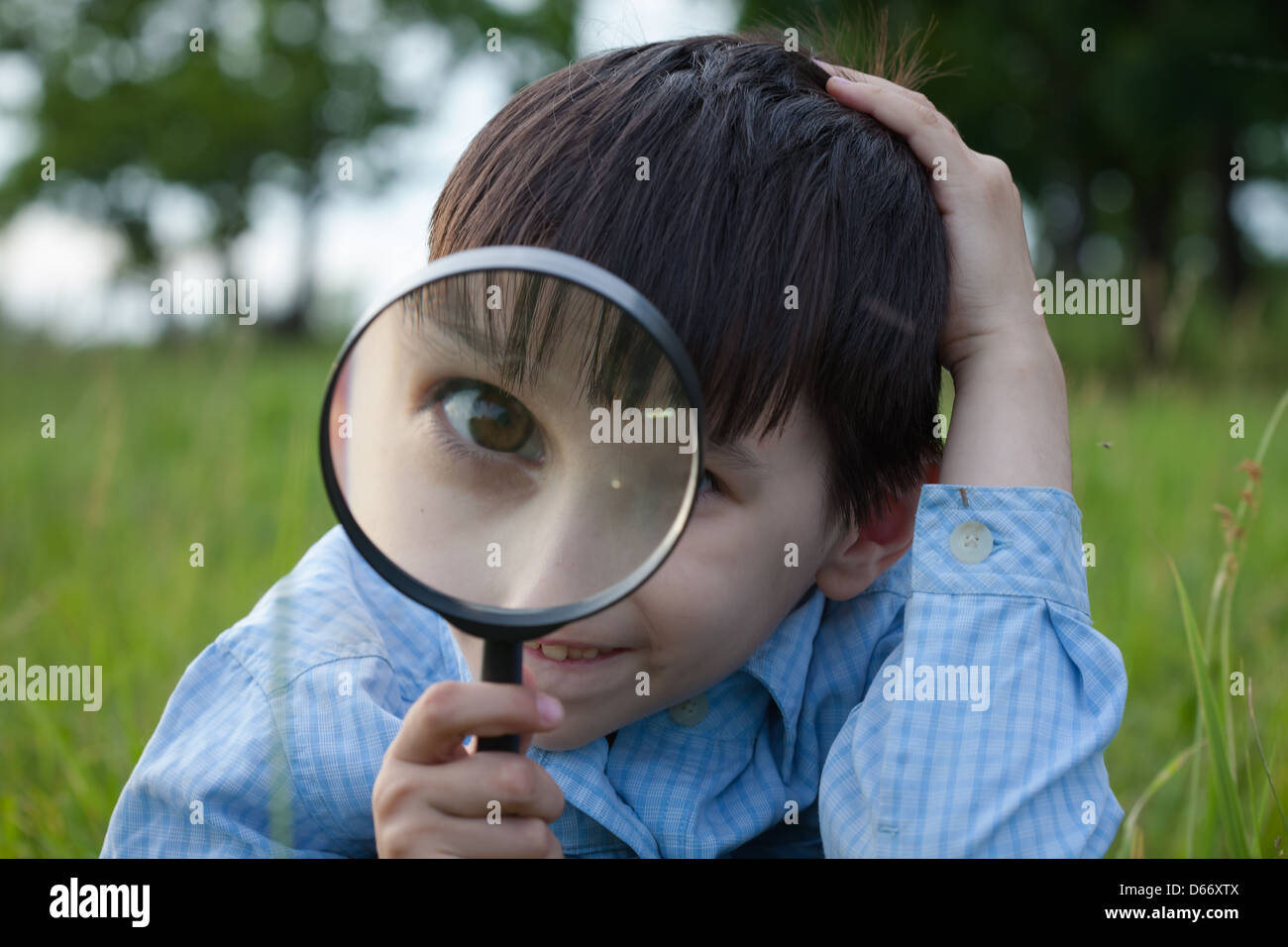 Boy with magnifying glass lying on the grass - Stock Image