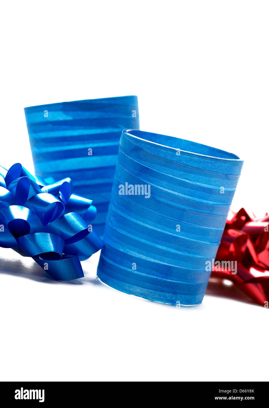 Festive decorations, two blue candle holders. - Stock Image