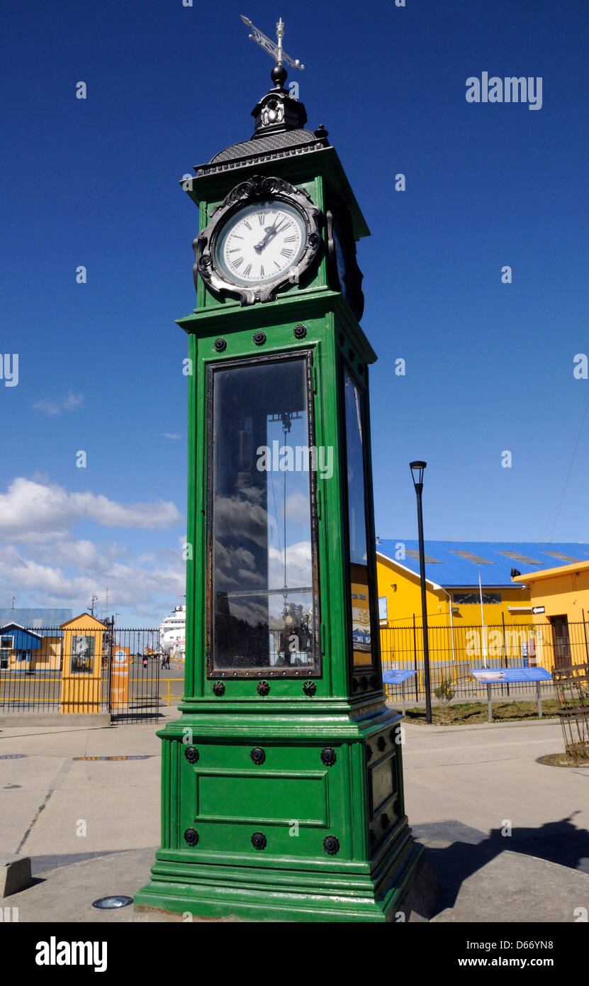 Meteorological clock at the entrance to the harbour in Punta Areanas. - Stock Image