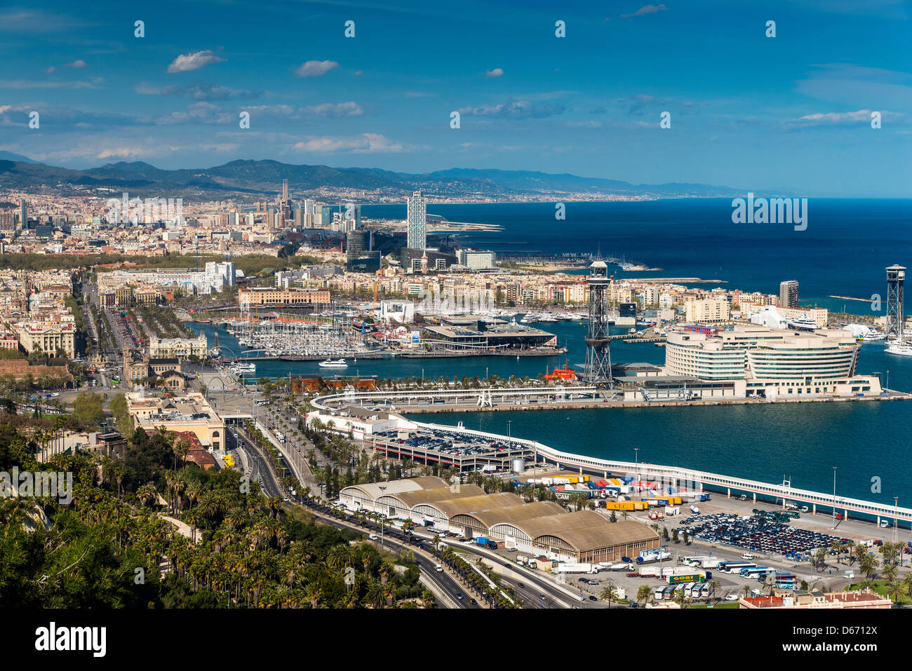 Panoramic view over Port Vell from the summit of Montjuïc, Barcelona, Catalonia, Spain - Stock Image