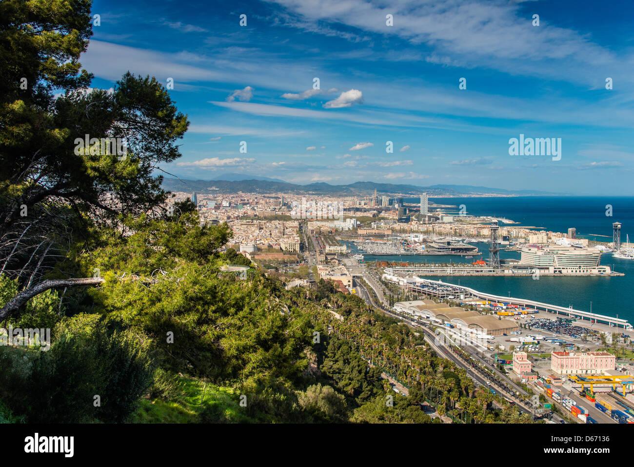 City skyline from Montjuïc, Barcelona, Catalonia, Spain - Stock Image