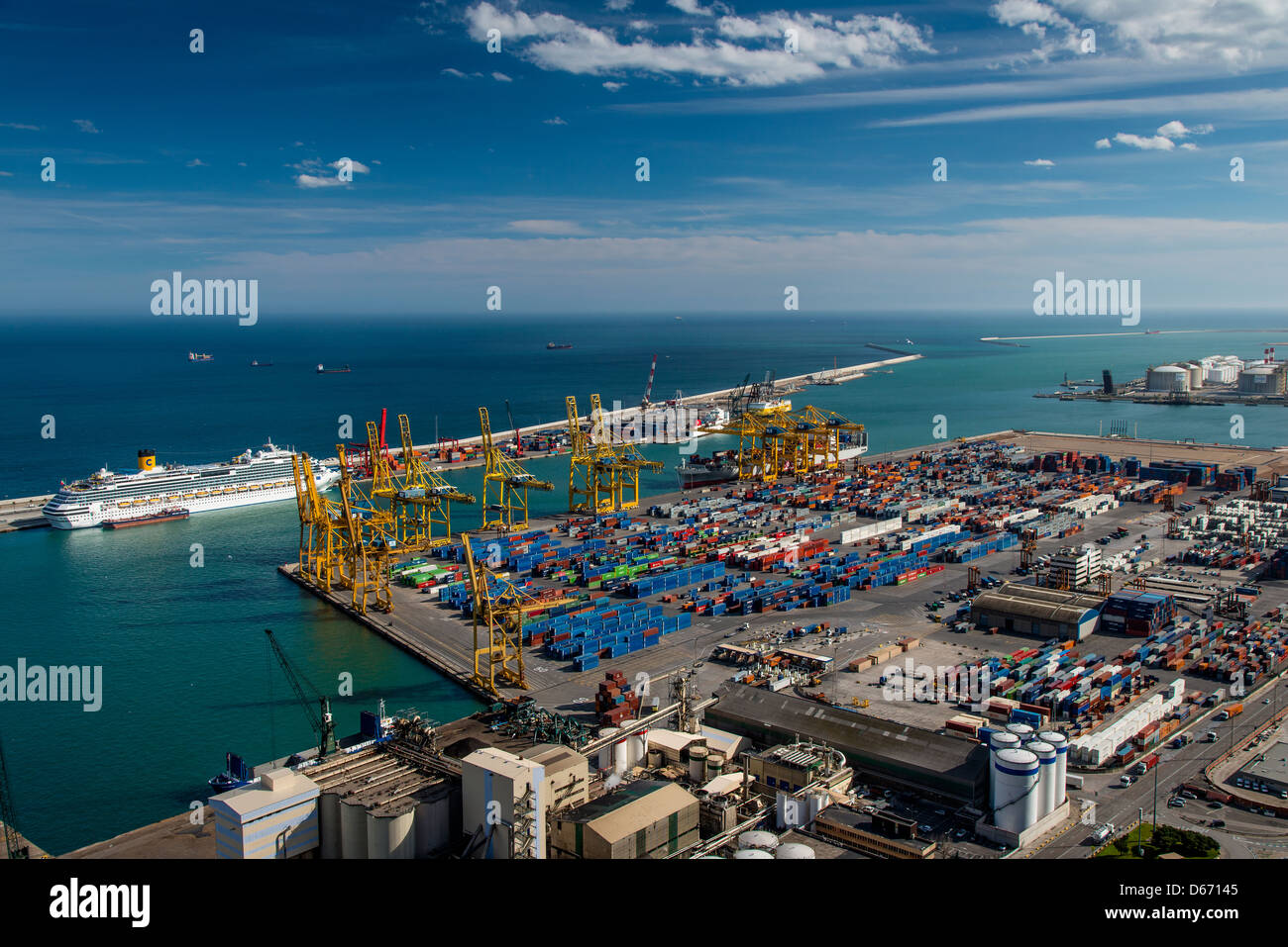 View over the freight harbor from Montjuic, Barcelona, Catalonia, Spain - Stock Image