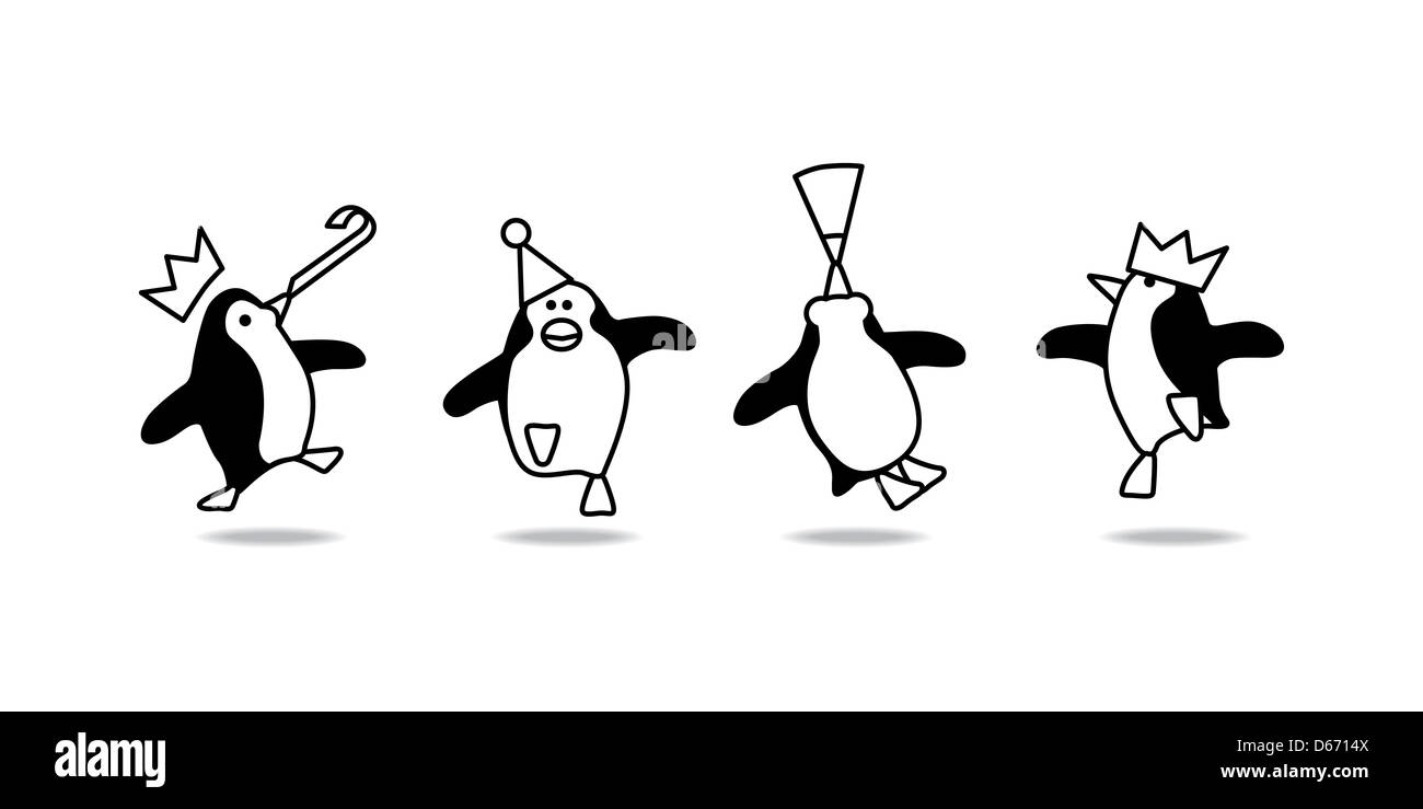 Vector Illustration of Four Happy Black Line Penguins Dancing at a Party Stock Photo
