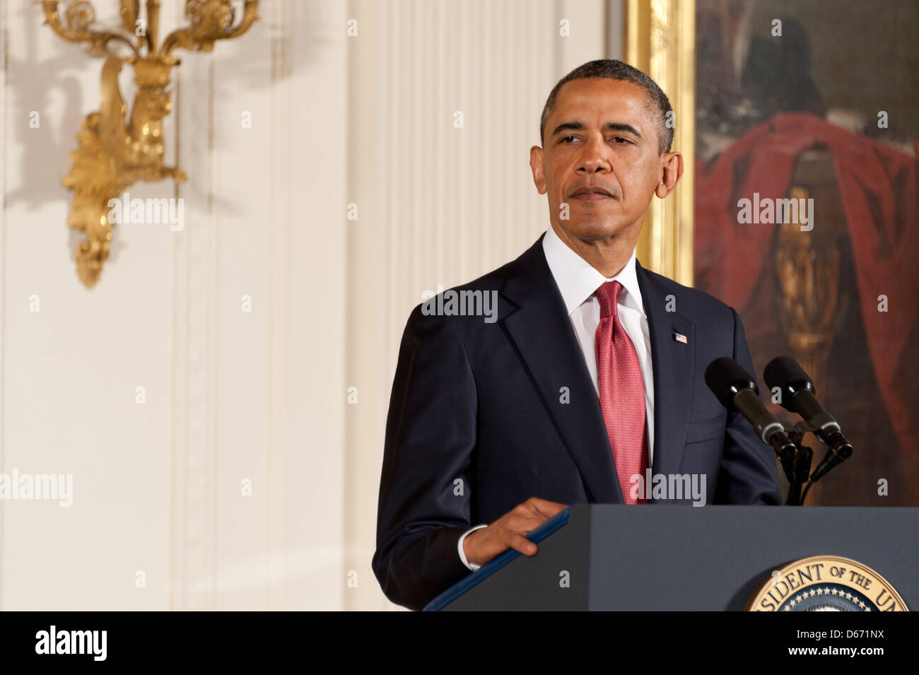 US President Barack Obama speaks during the posthumous Medal of Honor ceremony for US Army Chaplain Capt. Emil Kapaun - Stock Image