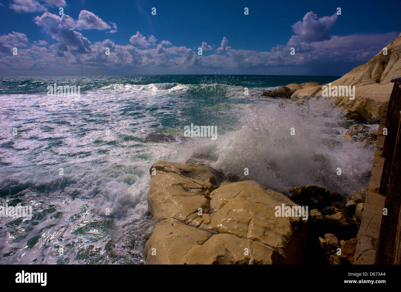 Crashing Waves at The Rosh HaNikra Grottos, Western Galilee, Israel - Stock Image