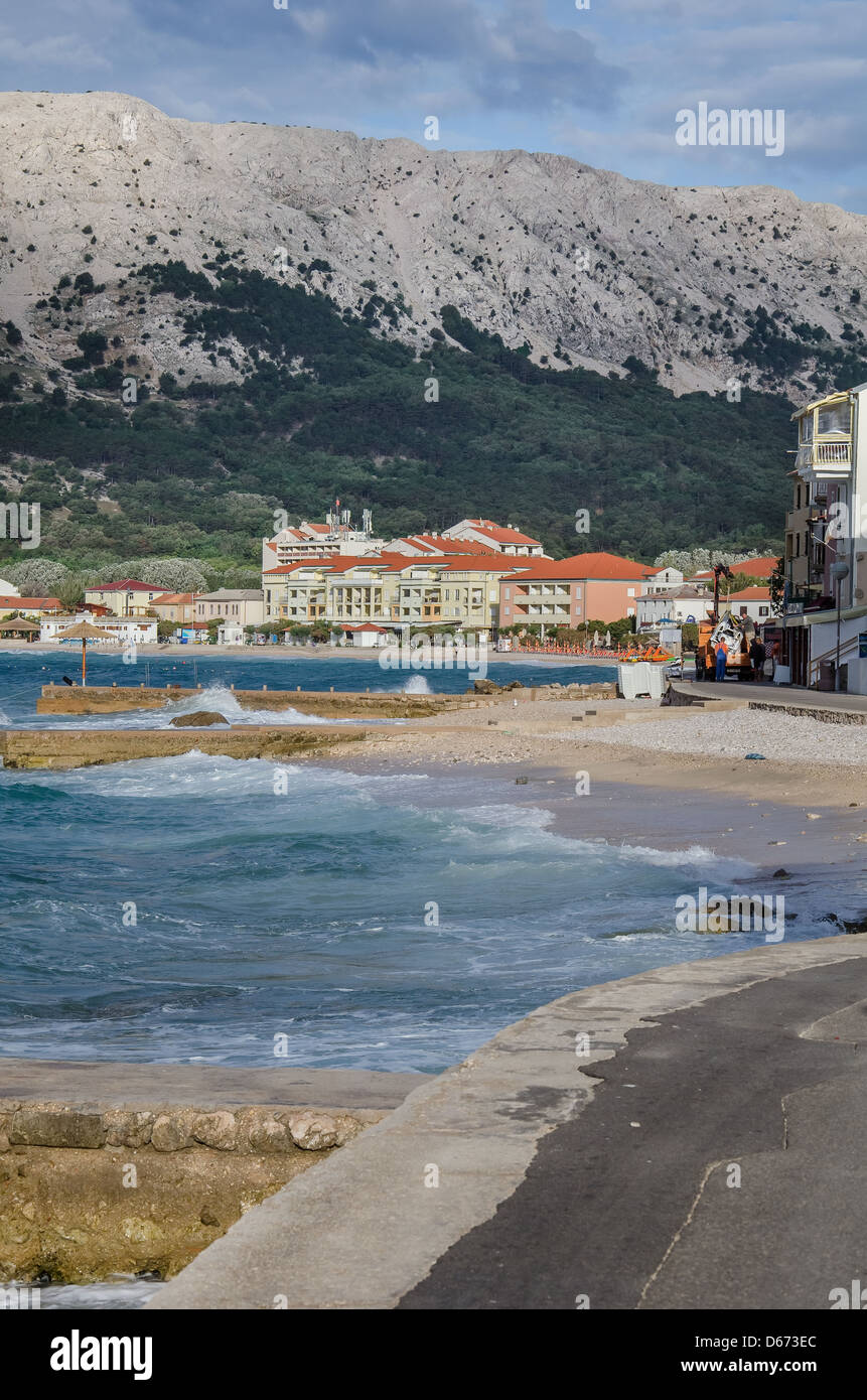 Baska bay with hotel and beaches - Stock Image