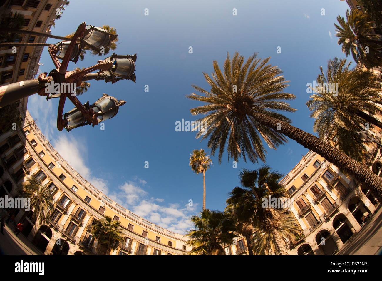 Plaça Reial - Royal Square - , Barcelona, Spain - Stock Image