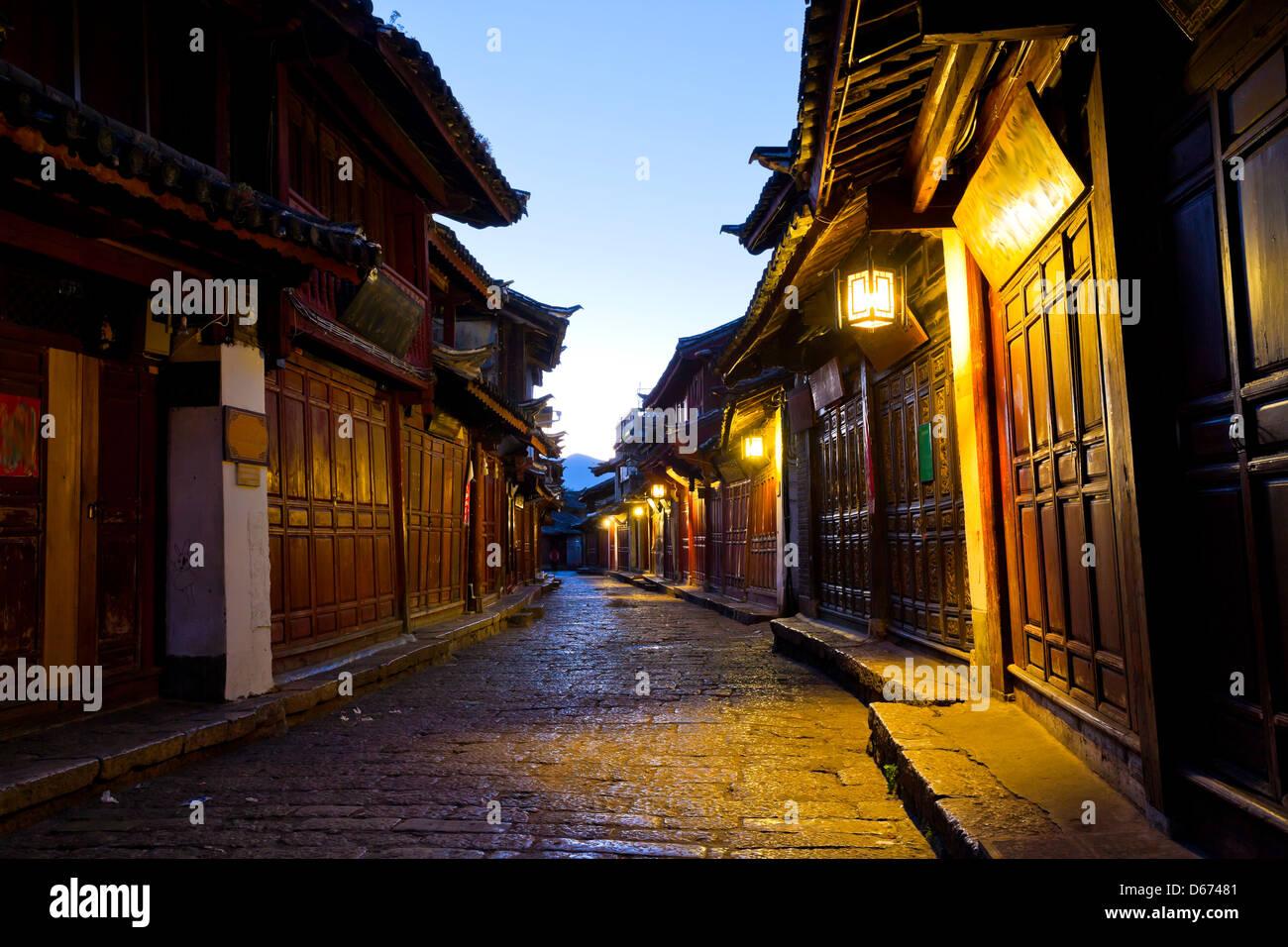 Lijiang old town at morning, China. - Stock Image