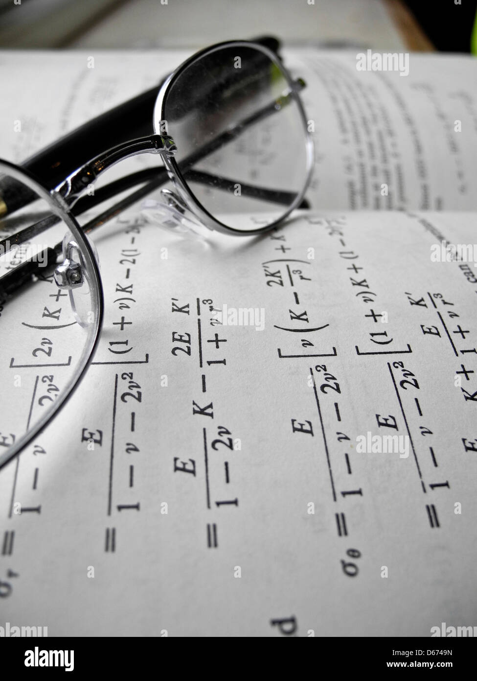 Mathematical equations and calculations for engineering studies and practice. Stock Photo
