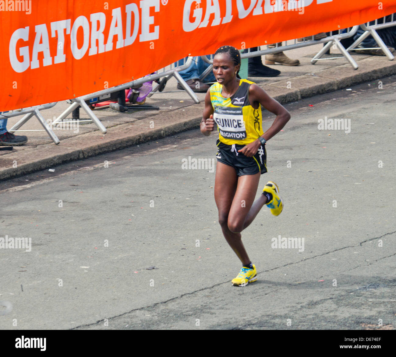 Brighton, UK. 14 April 2013. Brighton Marathon women's race winner Eunice Kales, of Kenya, on the home straight - Stock Image