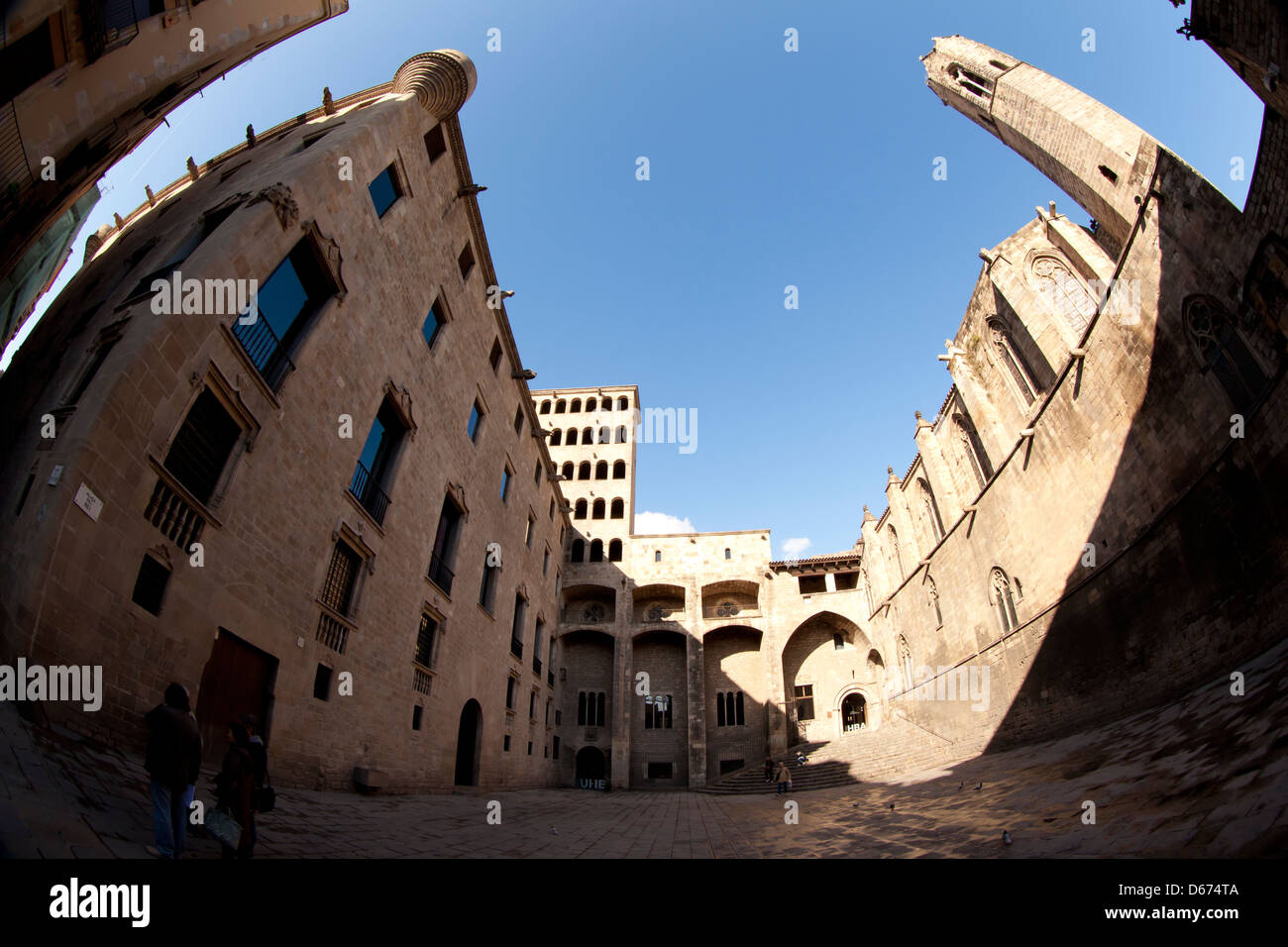 Plaça del Rei - King's square - in Barcelona town center, Barcelona, Spain - Stock Image