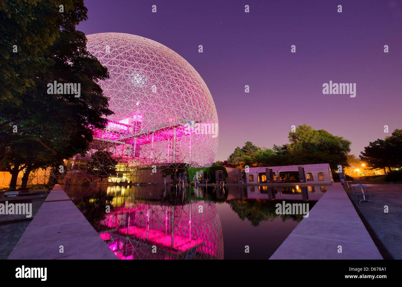 Montreal Biosphere by night on Jean Drapeau Island - Stock Image