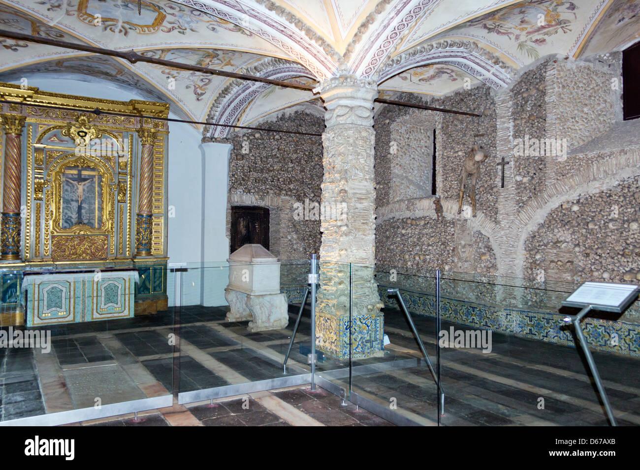 Évora, Portugal. The Capela dos Ossos or Chapel of Bones. - Stock Image