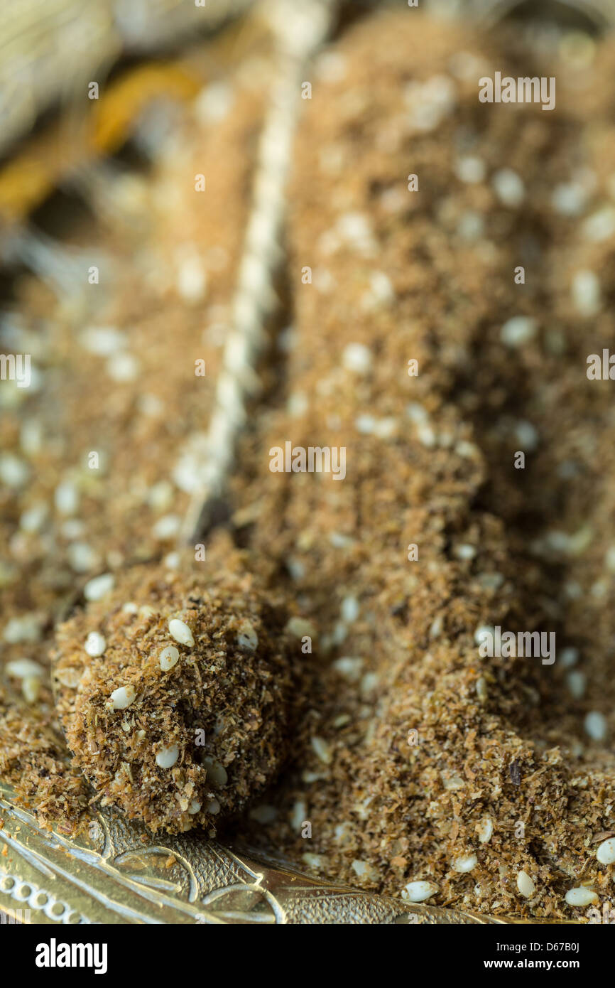 Za'atar spice, mix of thyme, herbs and sesame seeds - Stock Image