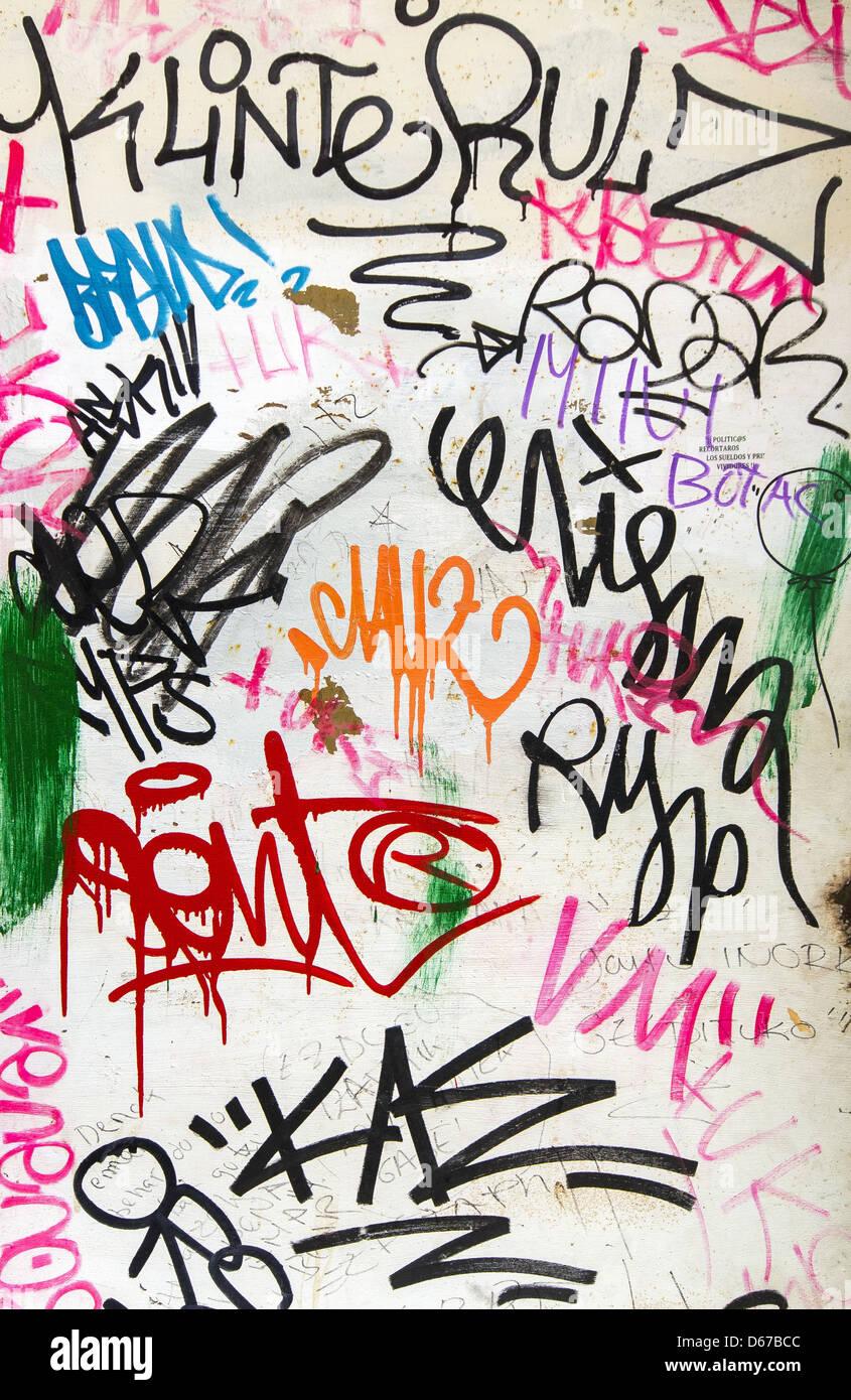 Graffiti on white wall stock image