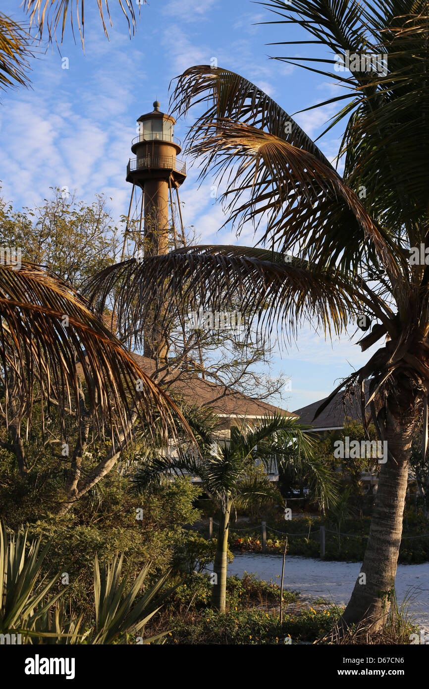 The Sanibel Island Light or Point Ybel Light is the first lighthouse on Florida's Gulf coast north of Key West Stock Photo