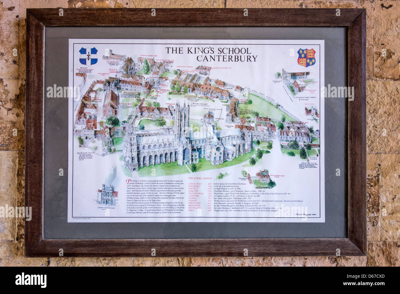 The Kings School Canterbury Location Map - Stock Image