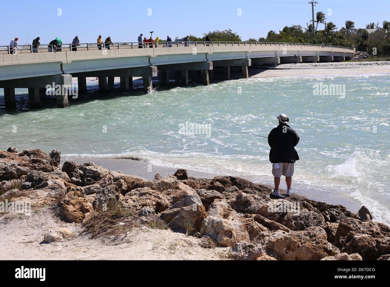 bridge and people fishing at Captiva Island, Florida, USA Stock Photo