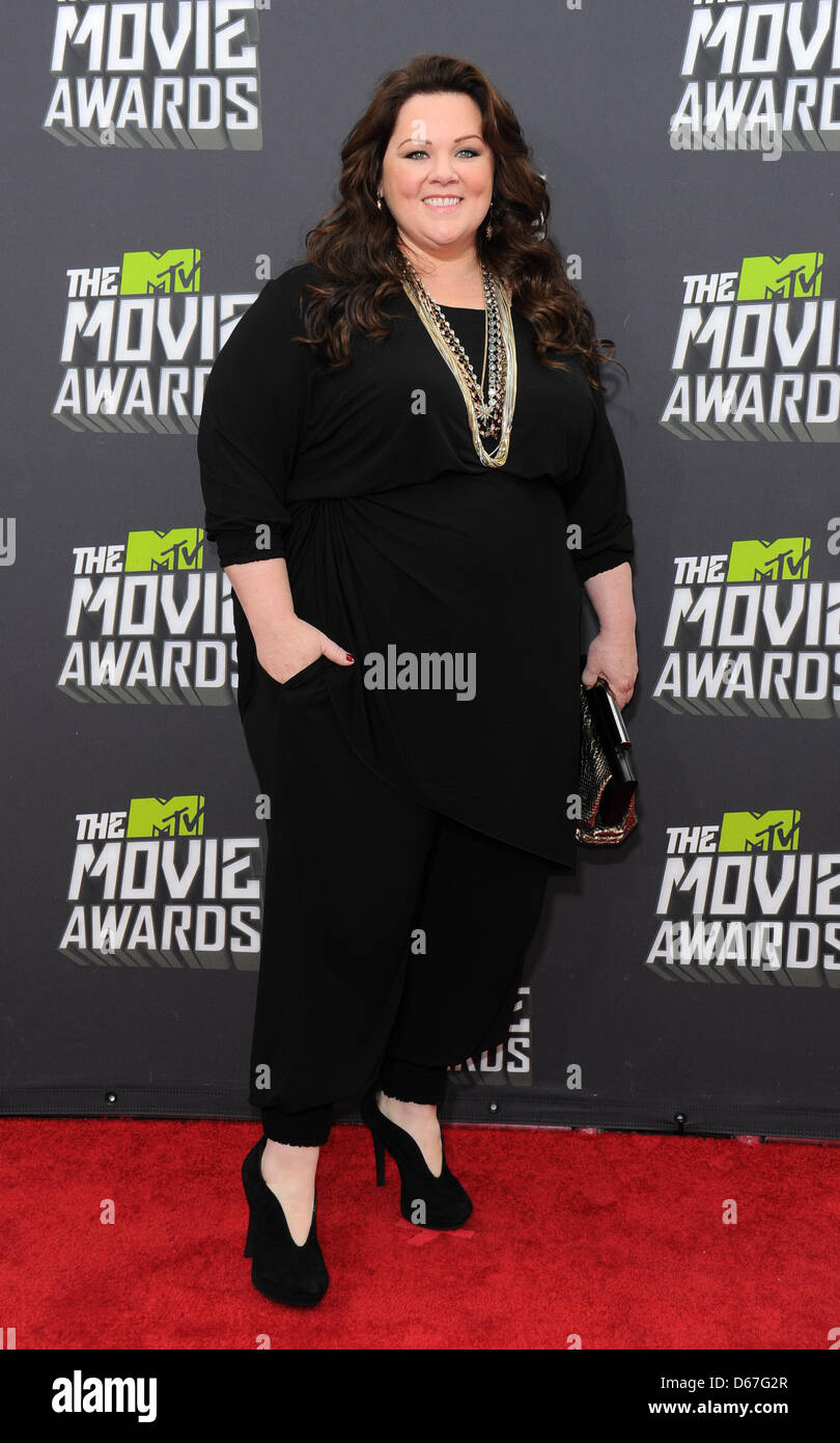 Los Angeles, CA, USA. April 14th 2013. Melissa McCarthy at the MTV Movie Awards in Los Angeles. Credit: Sydney Alford/Alamy - Stock Image