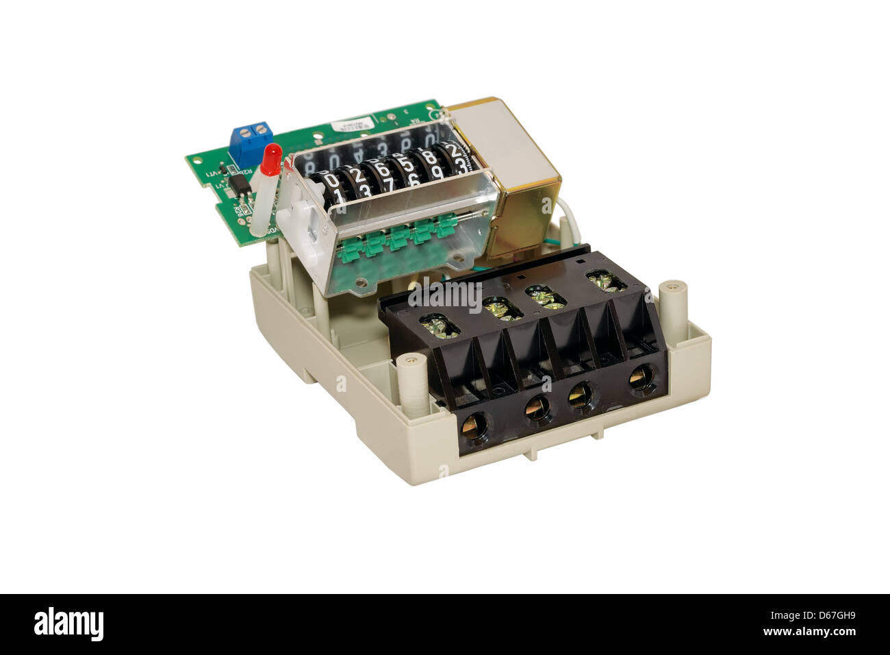 disassemble, Meter, current, electrical, energy, measure, power, utilities, watt, appliance, consumption, device, - Stock Image