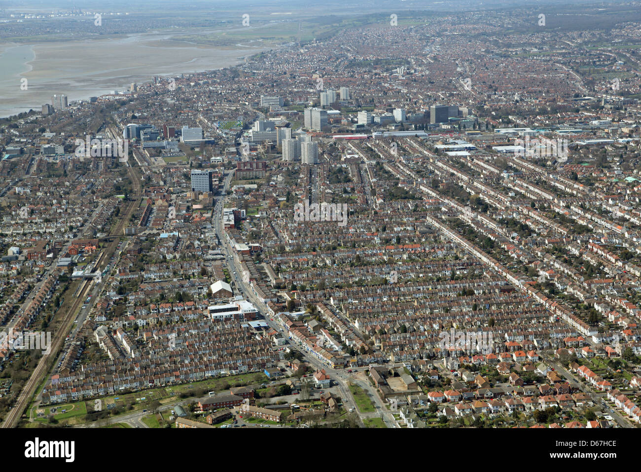 Aerial view of Southend, Southend-on-Sea, Essex Stock Photo