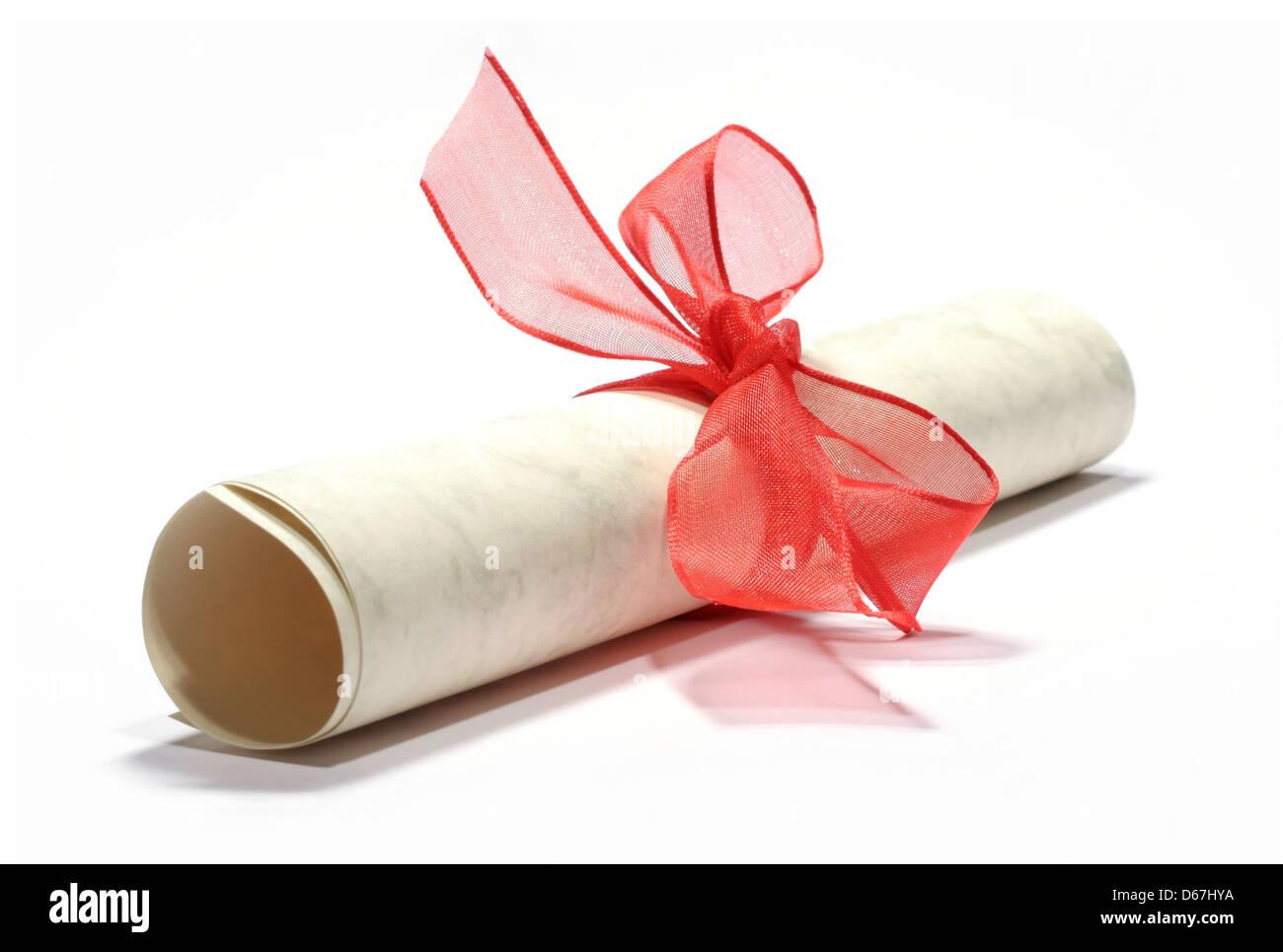 gift,scroll,coupon - Stock Image