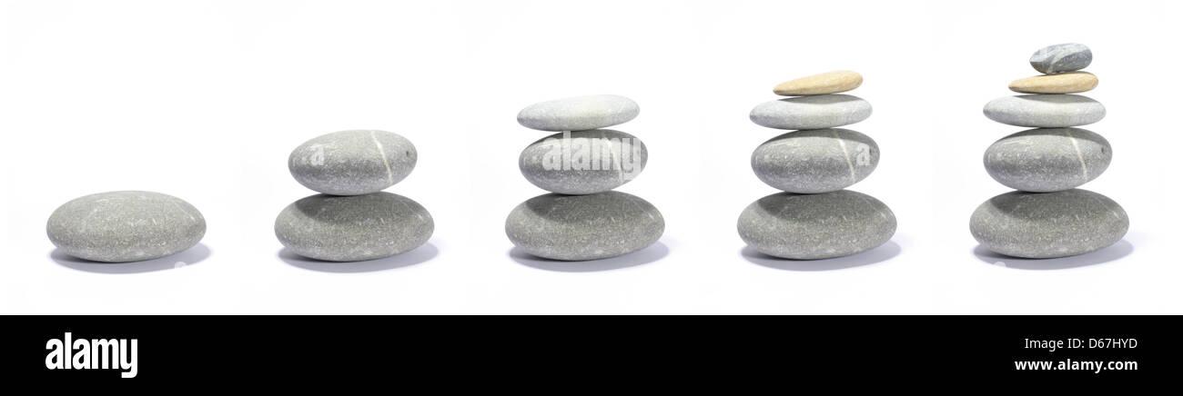 growth,balance,successful,stone pile - Stock Image