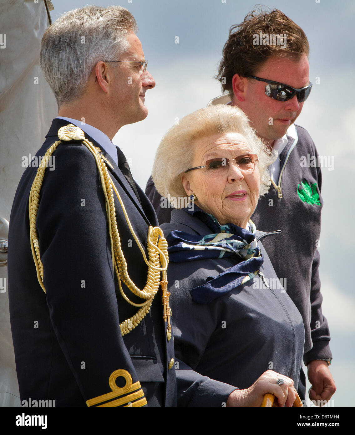 Dutch Queen Beatrix at the helm of her yacht Green Draeck during the celebrations of the 100th anniversary of the - Stock Image