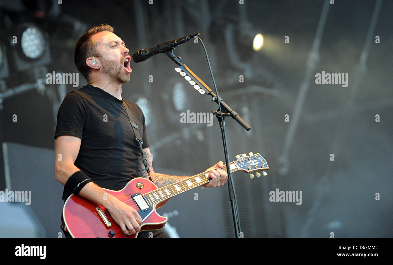 Tim McIlrath, front man of USpunk band Rise Against performs on stage during the Hurrican Festival in Scheessel, - Stock Image
