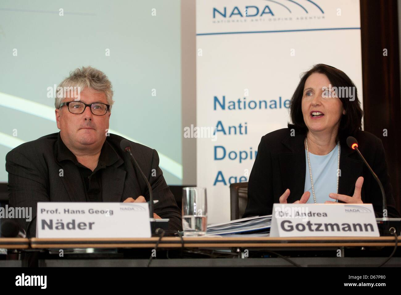 CEOof NADAAndrea Gotzmann talks next to chairman of the supervisory board of NADA Hans Georg Naeder during the Stock Photo
