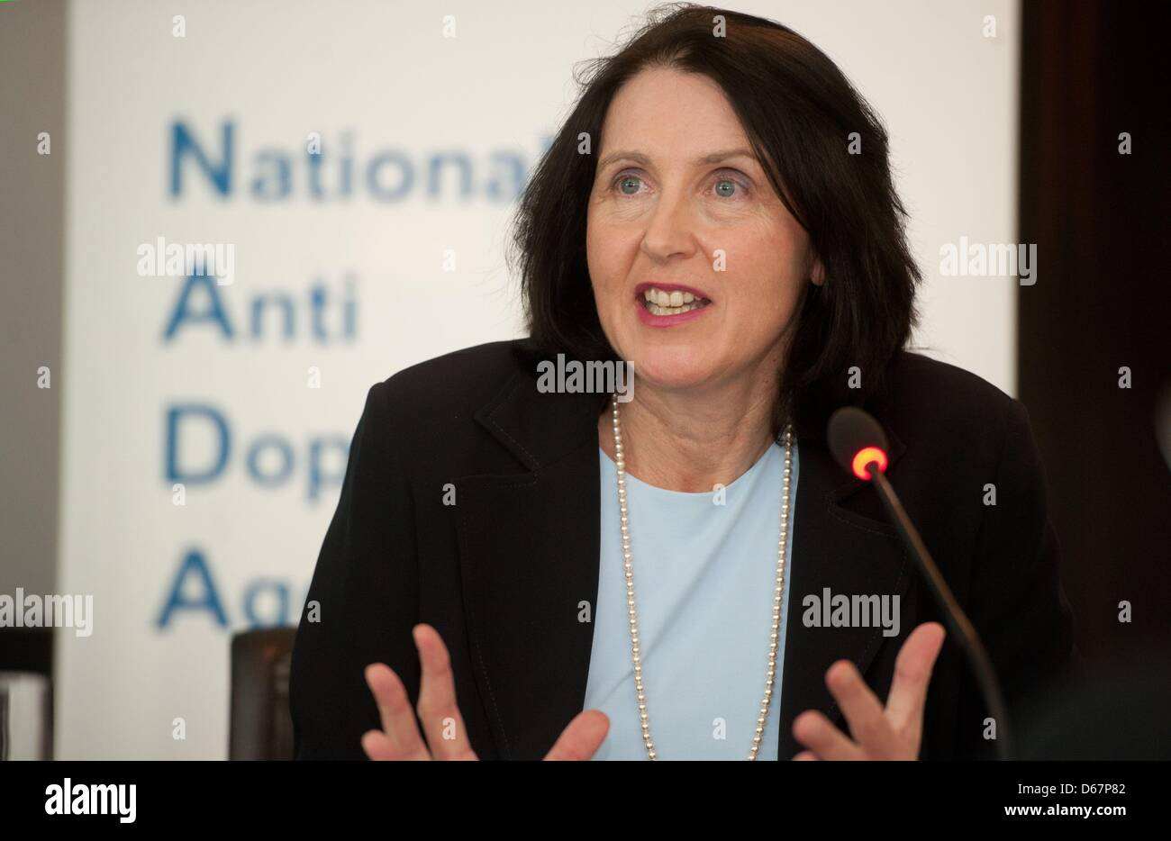 CEOof NADAAndrea Gotzmann takes part in the annual press conference of the National Anti-Doping Agency (NADA) Stock Photo