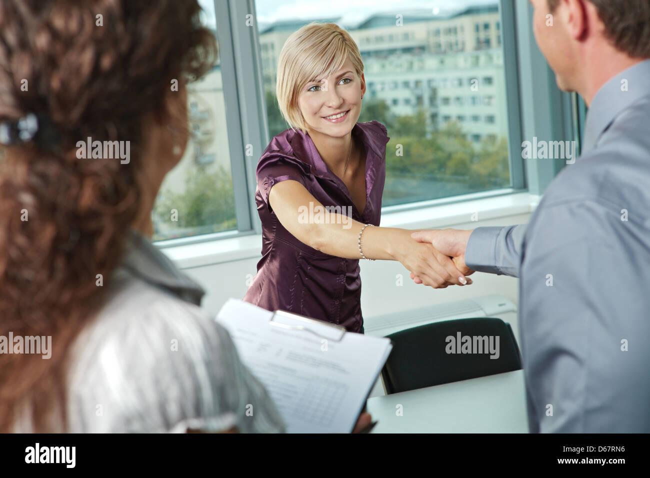 handshake,greeting,interview Stock Photo