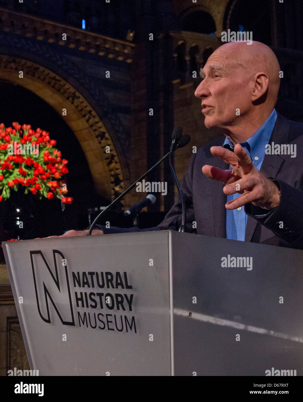 Sebastiao Salgado speaking at the world opening of the 'Genesis' exhibition at the Natural History Museum - Stock Image