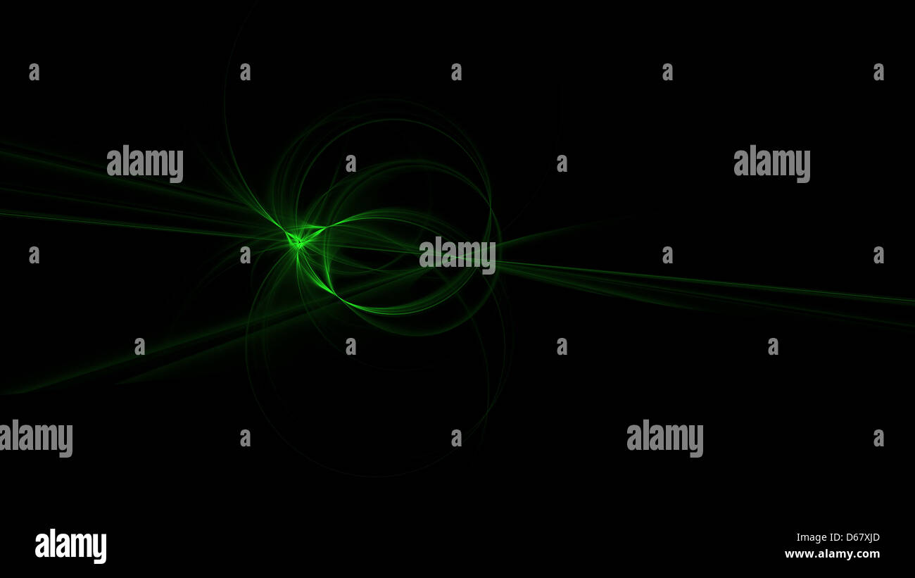 Origin. Green circles of light with straight lines in the cross fire. - Stock Image