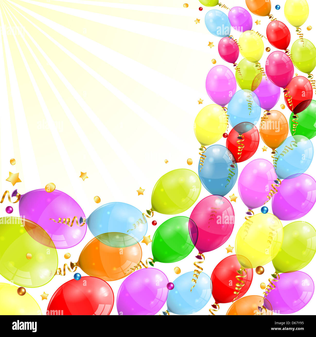 3D Transparent Birthday Balloons With Streamer And Confetti