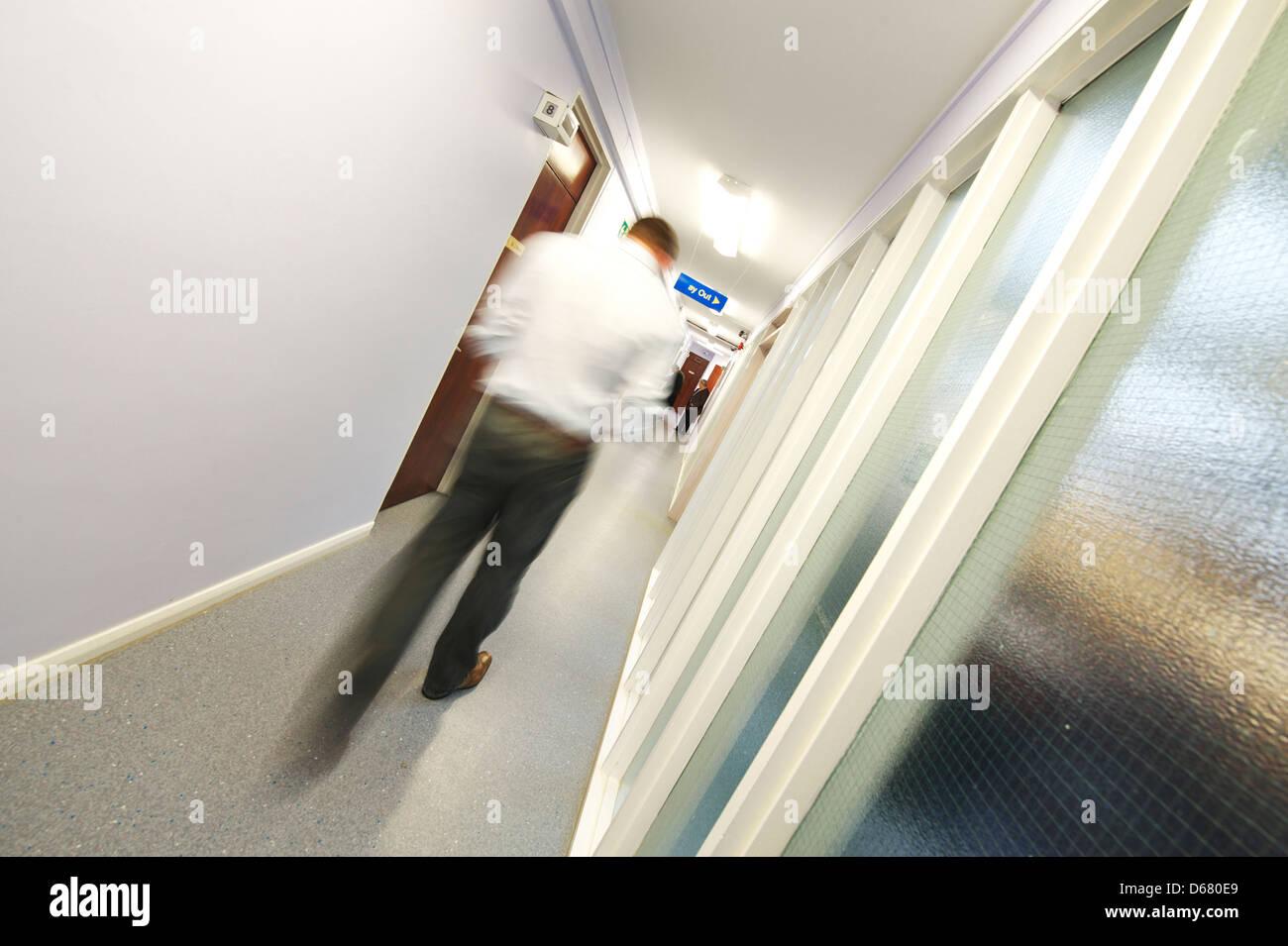 GP Shoot.  Health Centre, Essex. Busy Corridor - Stock Image