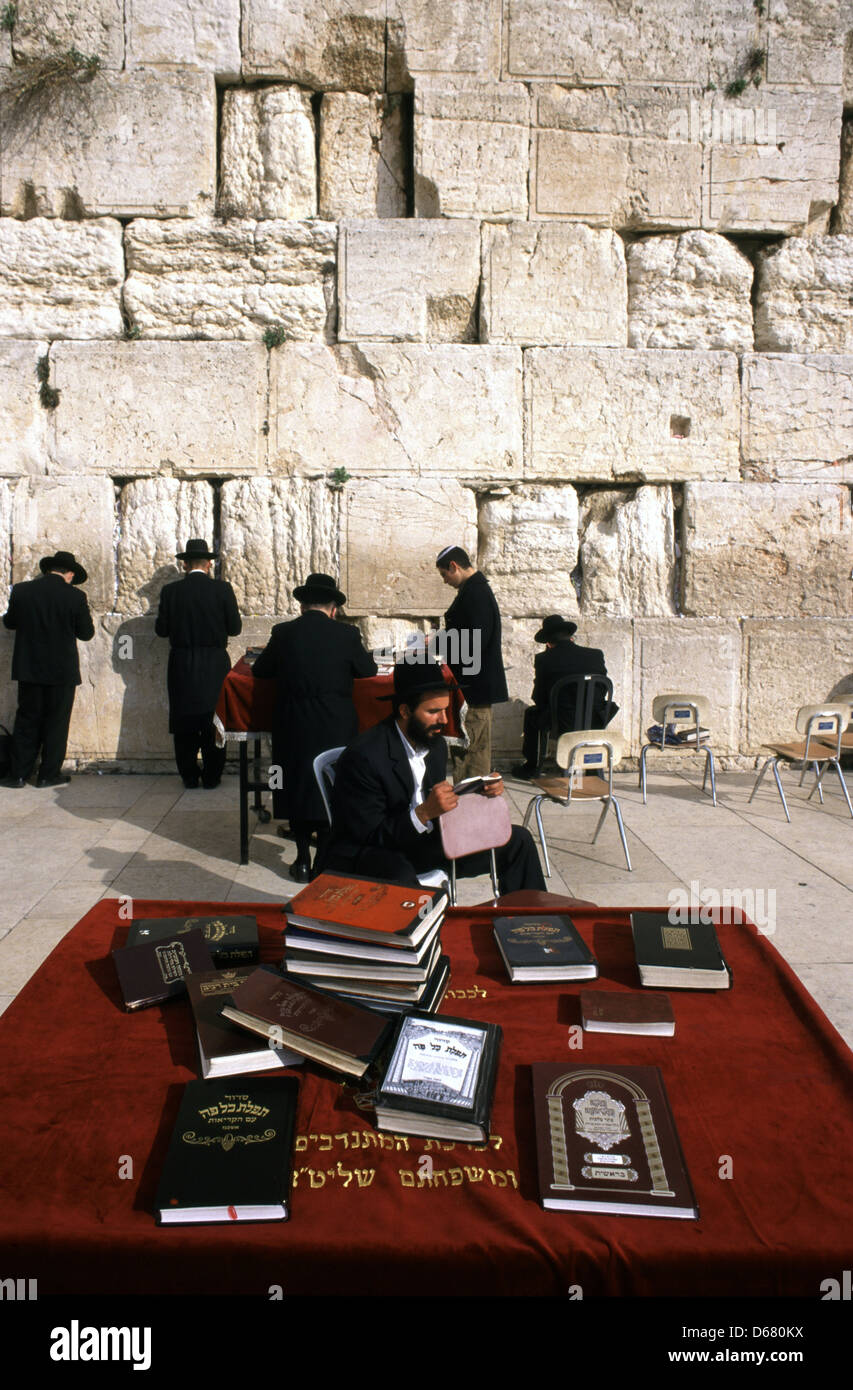 Siddur Jewish books of pray at the Western wall or wailing wall in the old city of East Jerusalem Israel - Stock Image