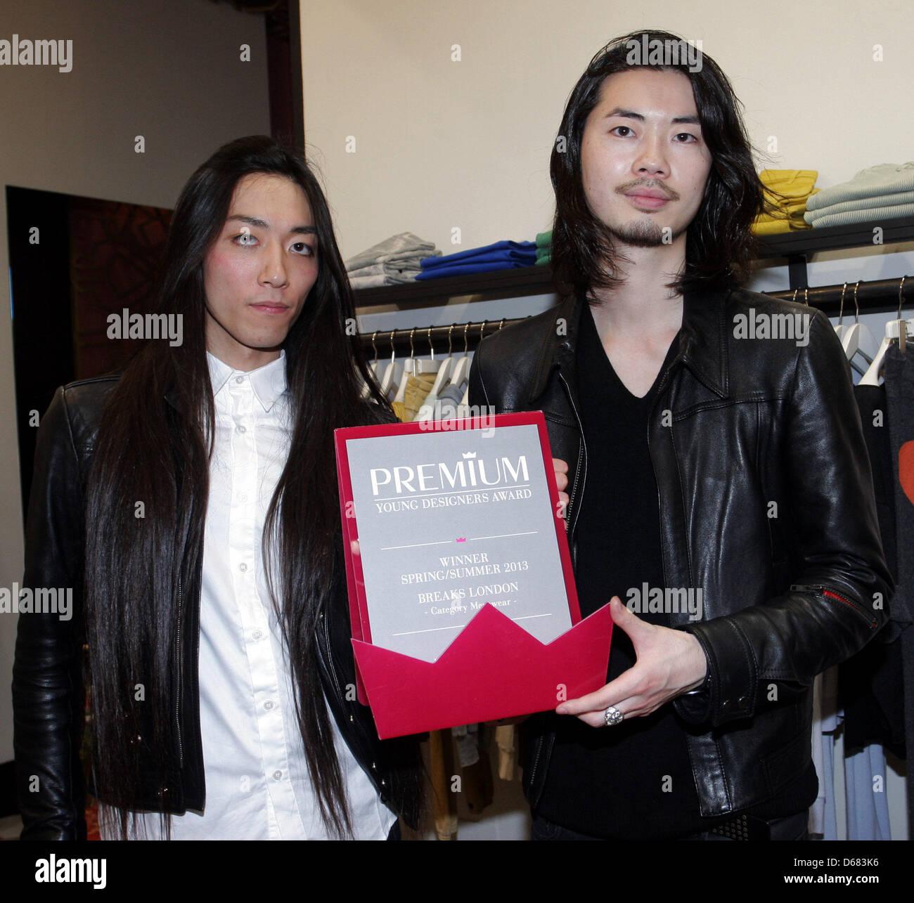 Ryo Yamazaki and Kohji Yanagi of fahion label Label BREAKS London receive the Premium Young Designers Award in the - Stock Image