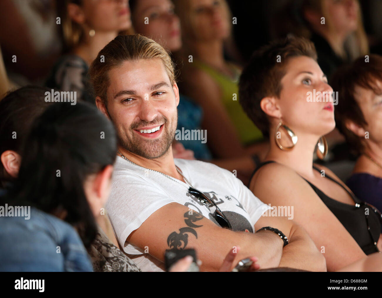 Violinist David Garrett attends the Minx show during the Mercedes-Benz Fashion Week in Berlin, Germany, 07 July Stock Photo