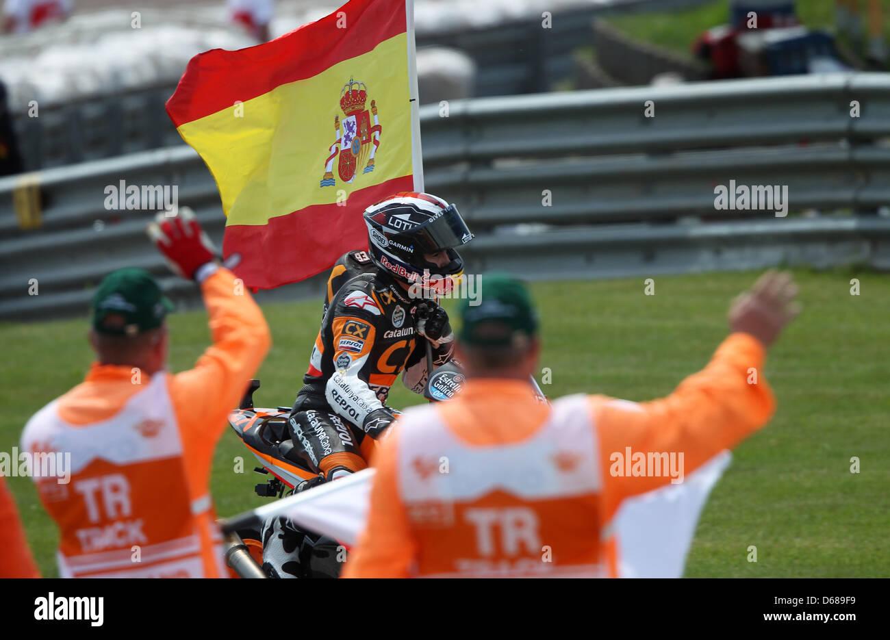 Spanish rider Marc Marquez of Team CatalunyaCaixa Repsol wins the Moto2 German Grand Prix at Sachsenring in Hohenstein - Stock Image