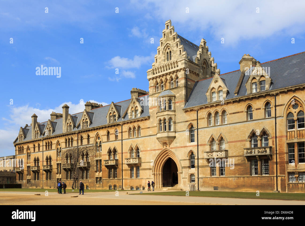 Meadow Building circa 1863 with main front entrance to Christ Church College in Oxford, Oxfordshire, England, UK, - Stock Image