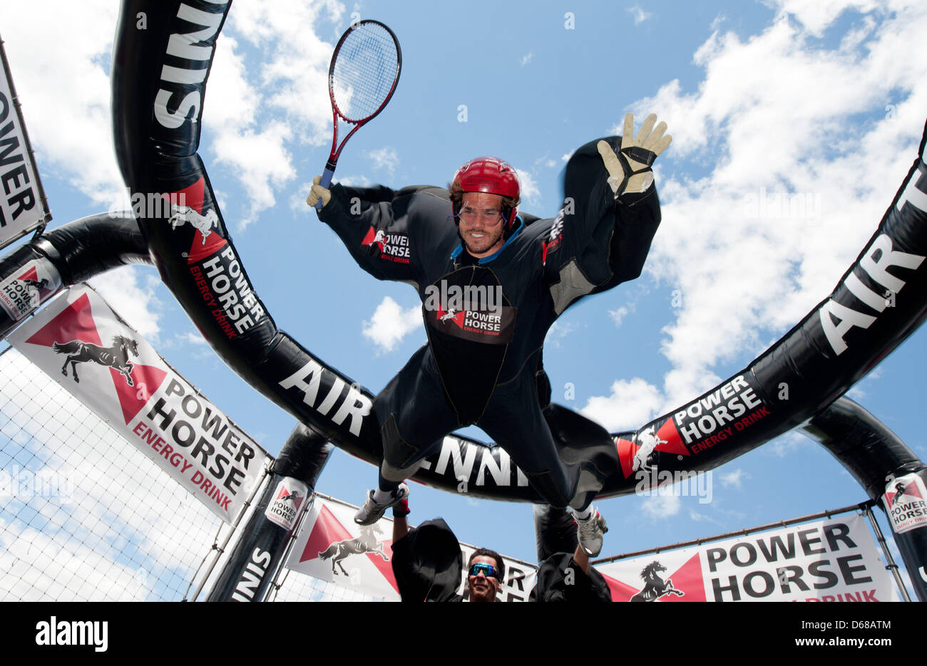Serbian tennis pro Tommy Haas (Thomas Haas) hovers in a wind machine during the  ATP tour in Stuttgart,Germany, - Stock Image